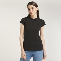 Solid Top with Polo Neck and Cap Sleeves