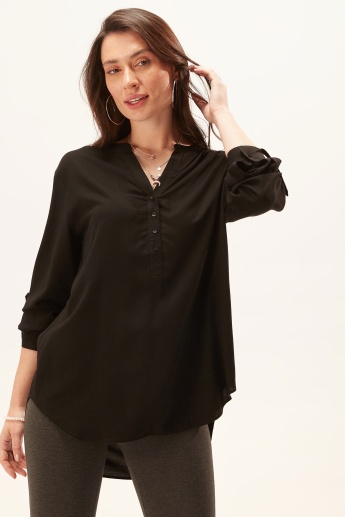 Solid Top with Long Sleeves and High Low Hem