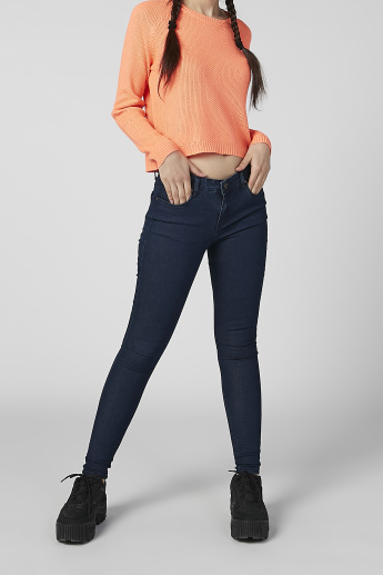 Skinny Fit Plain Jeans with Pocket Detail and Belt Loops
