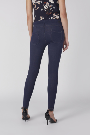 Full Length Jeggings with Elasticised Waistband and Pocket Detail