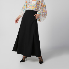 Plain Maxi A-line Skirt with Elasticised Waistband and Pocket Detail