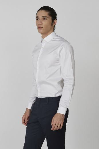 Long Sleeves Shirt with Spread Collar and Complete Placket