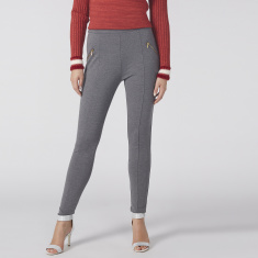 Full Length Jeggings with Elasticised Waistband and Zip Detail