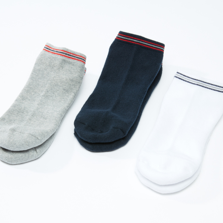 Textured Ankle Length Socks with Striped Cuffs - Set of 3