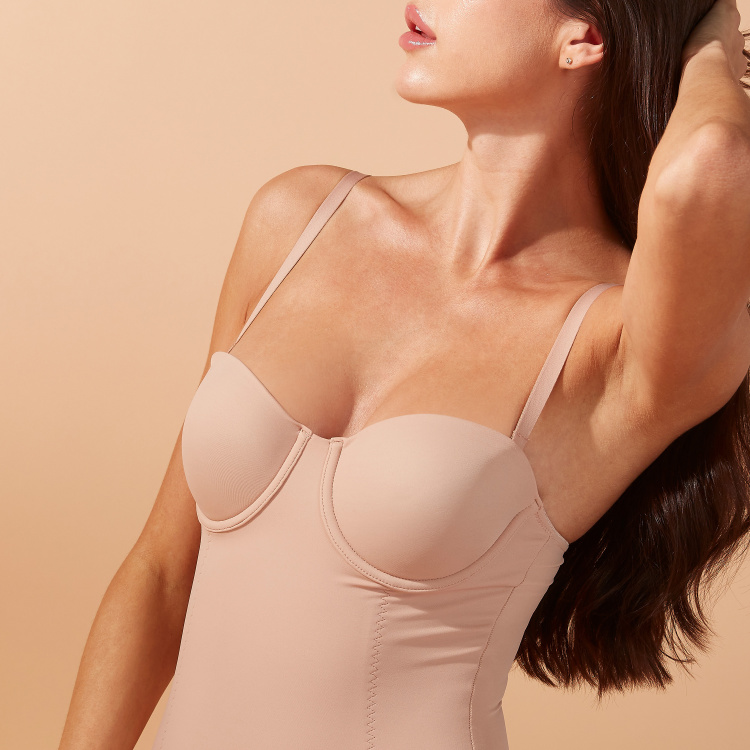 Padded Bodysuit with Adjustable Straps and Press Button Closure
