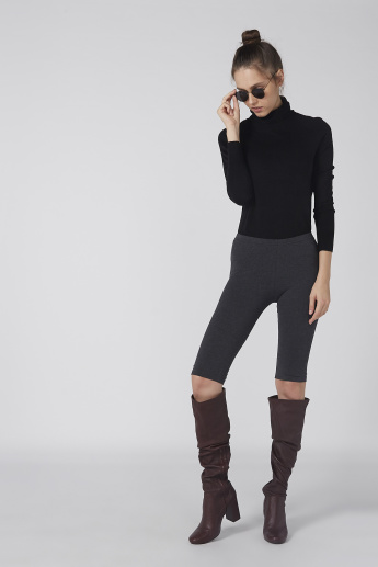 Plain Short Leggings with Elasticised Waistband