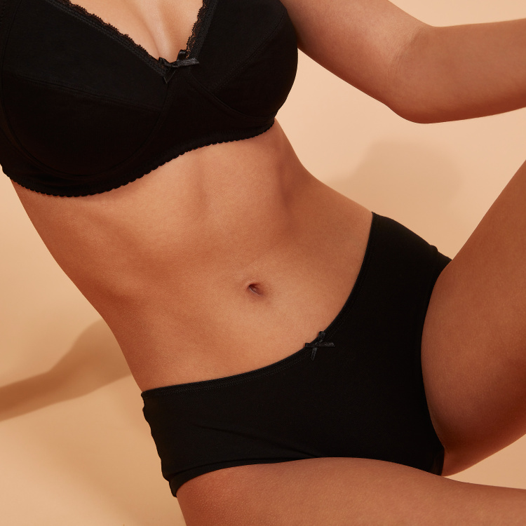 Bow Detail Boyshorts with Elasticised Waistband - Set of 5
