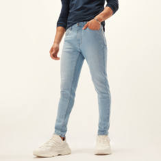 Skinny Fit Full Length Solid Jeans with Pocket Detail and Belt Loops