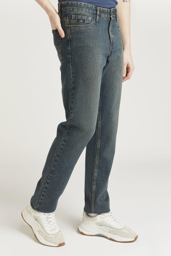 Full Length Solid Jeans with Pocket Detail and Belt Loops