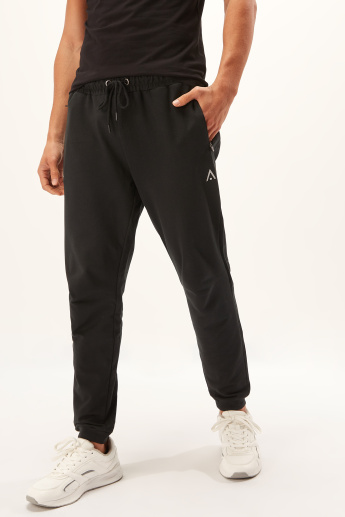 Full Length Solid Jog Pants with Pocket Detail and Drawstring