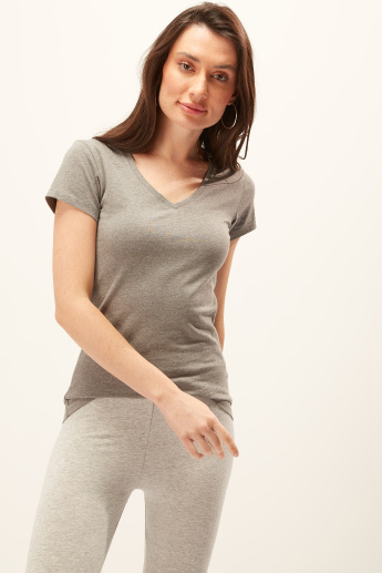 Plain T-shirt with V-neck and Cap Sleeves