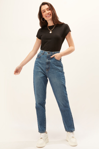 Solid Top with Crew Neck and Cap Sleeves