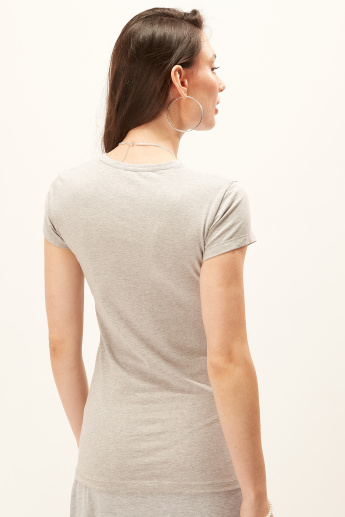 Plain T-shirt with Round Neck and Cap Sleeves