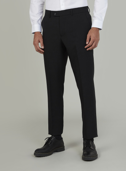 Full Length Plain Formal Trousers with Pocket Detail and Belt Loops