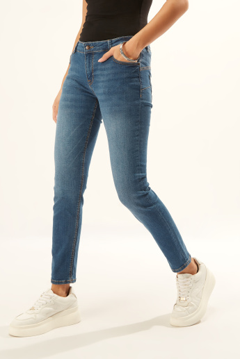 Lee Cooper Textured Jeans with Pocket Detail and Belt Loops
