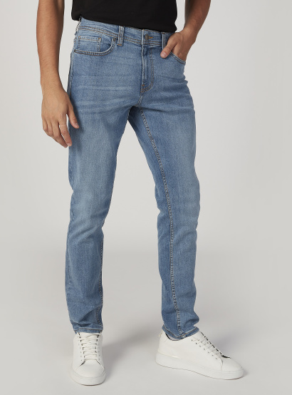 Sustainable Slim Fit Plain Mid Waist Jeans with Pocket Detail
