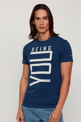Being Human Printed Round Neck T-Shirt with Short Sleeves