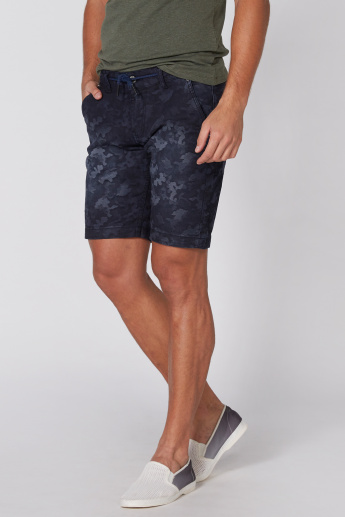 Being Human Printed Shorts with Pocket Detail