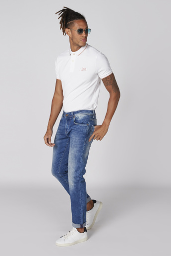 Being Human Full Length Jeans with Button Closure and Pocket Detail
