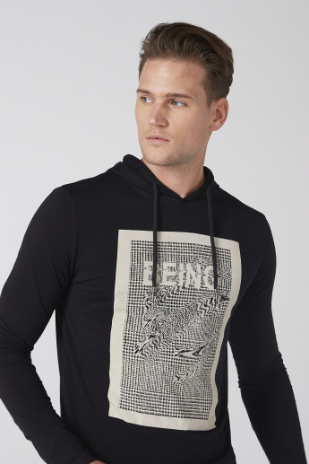 Printed T-Shirt with Hood and Long Sleeves