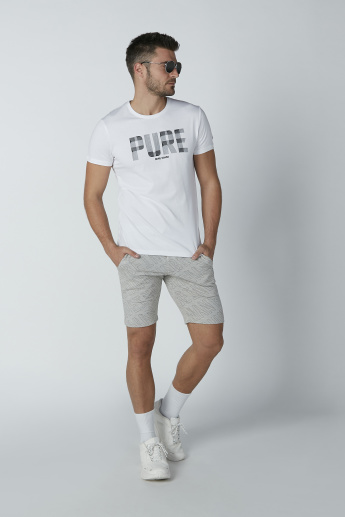 Being Human Printed Mid Waist Shorts with Pocket Detail and Drawstring