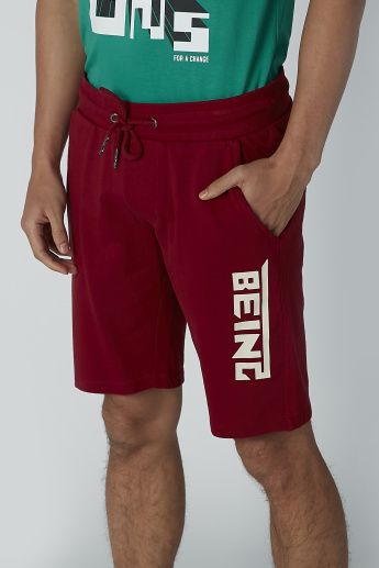 Sustainable Being Human Printed Mid Waist Shorts with Pocket Detail