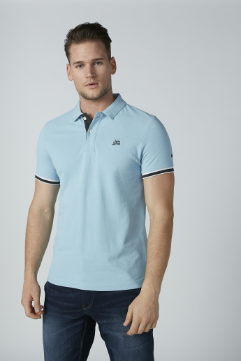 Being Human Plain T-Shirt with Polo Neck and Short Sleeves