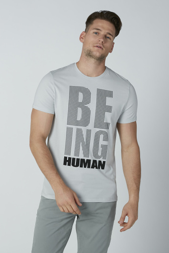 Being Human Printed T-shirt with Short Sleeves and Crew Neck
