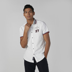 Being Human Embroidered Shirt with Short Sleeves