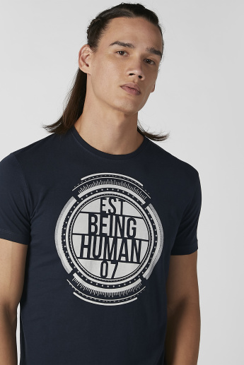 Being Human Graphic Printed Round Neck T-shirt with Short Sleeves