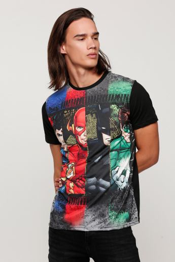Justice League Printed T-Shirt with Round Neck and Short Sleeves