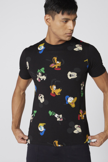 Mickey Mouse and Friends Printed T-Shirt with Round Neck