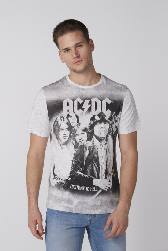 AC/DC Printed T-Shirt with Crew Neck and Short Sleeves