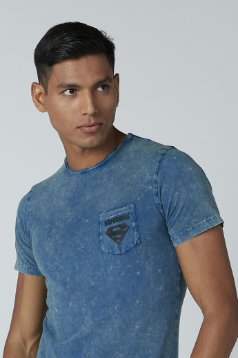 Slim Fit Superman Printed T-Shirt with Round Neck