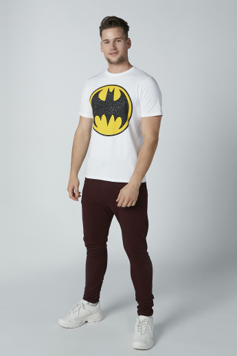Batman Printed Slim Fit T-Shirt with Crew Neck and Short Sleeves