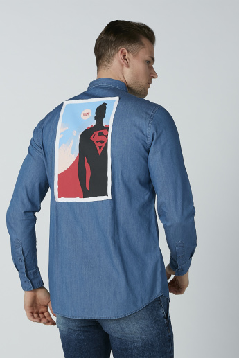 Superman Printed Shirt with Long Sleeves and Complete Placket