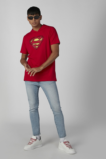 Superman Printed T-shirt with Short Sleeves and Hood