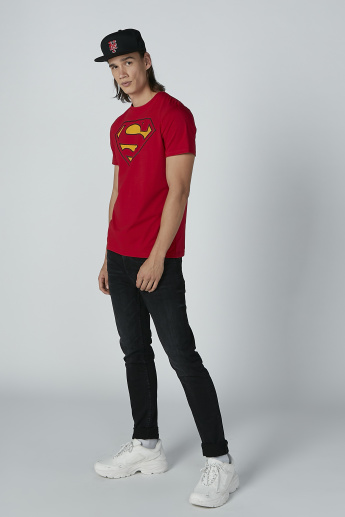 Superman Printed T-Shirt with Short Sleeves