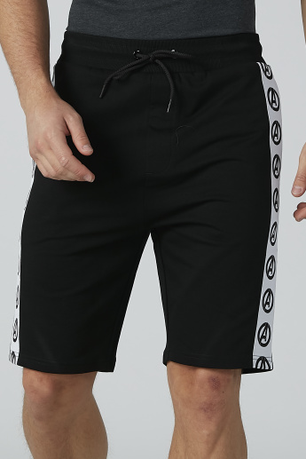 Sustainable Avengers Printed Tape Detail Shorts with Drawstring