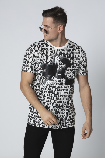 Sustainable Slim Fit Mickey Mouse Printed T-shirt with Round Neck