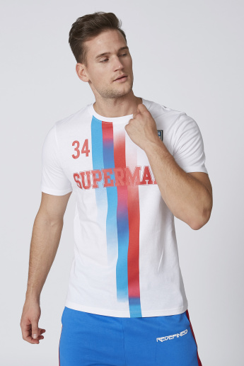 Sustainable Slim Fit Superman Printed T-shirt with Crew Neck