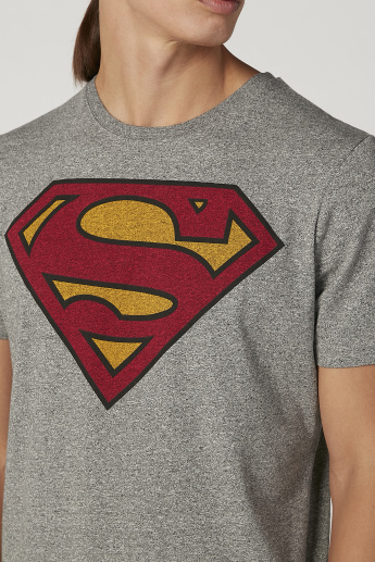Sustainability Slim Fit Superman Printed T-shirt with Crew Neck
