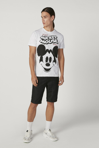 Sustainable Slim Fit Mickey Mouse Printed T-shirt with Crew Neck