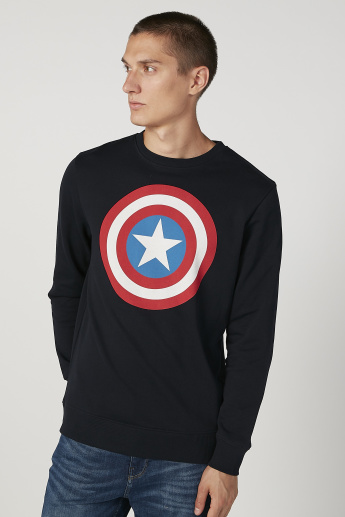 Sustainable Captain America Printed Round Neck Sweatshirt
