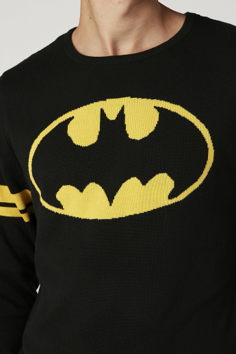 Sustainability Batman Printed Sweater with Round Neck and Long Sleeves
