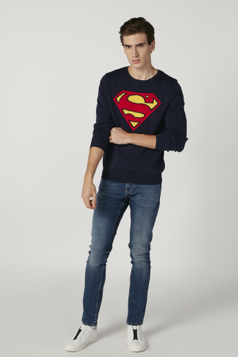 Superman Printed Sweater with Round Neck and Long Sleeves