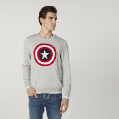 Sustainable Captain America Printed Sweater with Long Sleeves