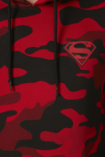 Sustainable Superman Printed Sweatshirt with Long Sleeves and Hood