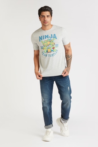 Slim Fit TMNT Print T-shirt with Crew Neck and Short Sleeves