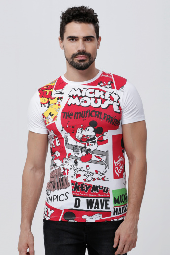 Sustainability Mickey Mouse Printed T-Shirt with Round Neck and Short Sleeves